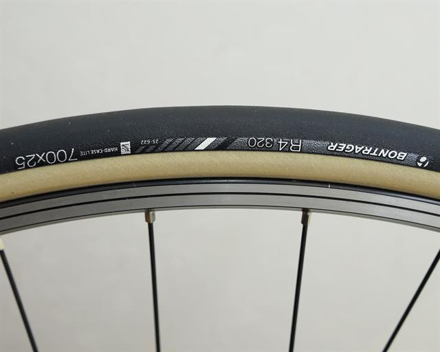 Bontrager R4 320 road bike tire on a rolling resistance test machine