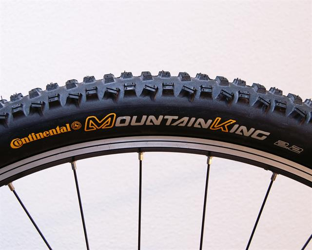 Continental Mountain King II RaceSport  mountain bike tire on a rolling resistance test machine