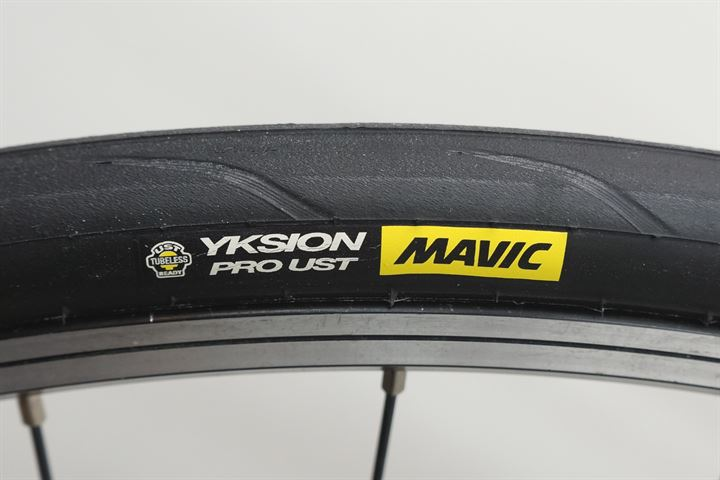 Mavic Yksion Pro UST Tubeless road bike tire on a rolling resistance test machine