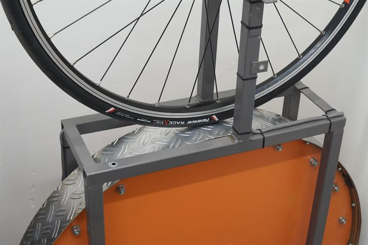Panaracer Race A Evo 3 road bike tire on a rolling resistance test machine