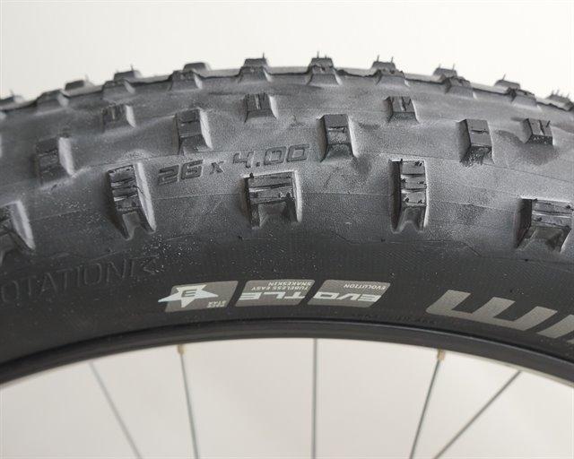 Schwalbe Jumbo Jim SnakeSkin  fat bike tire on a rolling resistance test machine