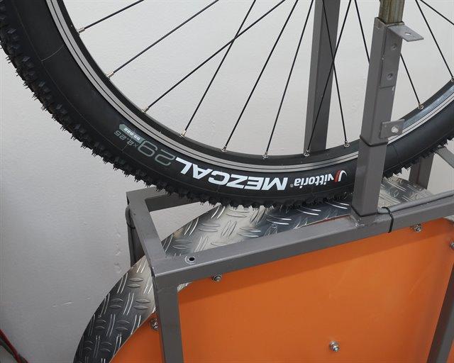 Vittoria Mezcal mountain bike tire on a rolling resistance test machine